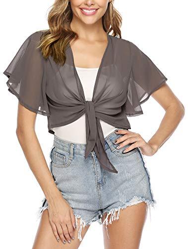 iClosam Women Tie Front Chiffon Shrug Short Sleeve Cropped Sheer Bolero Shrug Cardigan (Dark Grey, Large)