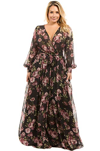 - RICARICA Plus Size Floral Printed Chiffon Maxi Dress (Black Rose, 2XL)