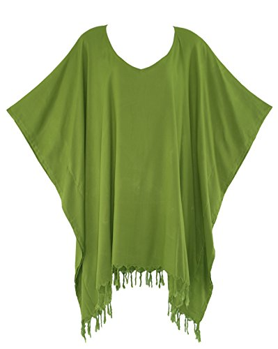 Beautybatik Avocado Green Hippie Tunic Blouse Kaftan Top 1X ()