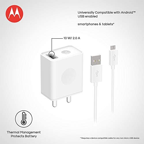 motorola sj5946ap1 micro-usb rapid charger with cable (white)