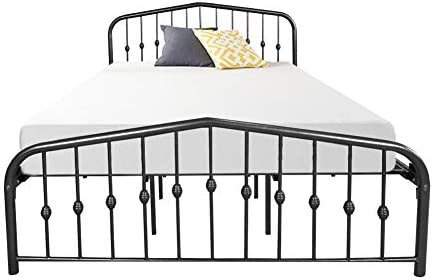 Metal Bed Queen Size Platform Bed Frame Morden Design Heavy Duty Steel Slat and Support, Black 41OU8I3L0nL