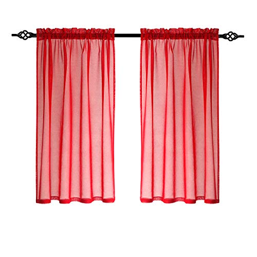 DWCN Red Sheer Curtains Linen Window Drapes Rod Pocket Curtain for Bedroom Voile Sheer Curtains for Living Room 52x63 Inches Length 2 Panels Set