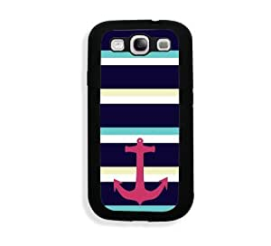 Galaxy S3 Case - Galaxy S III Case -   Large Nautical Stripes Anchor Samsung Galaxy i9300 Case Snap On Case