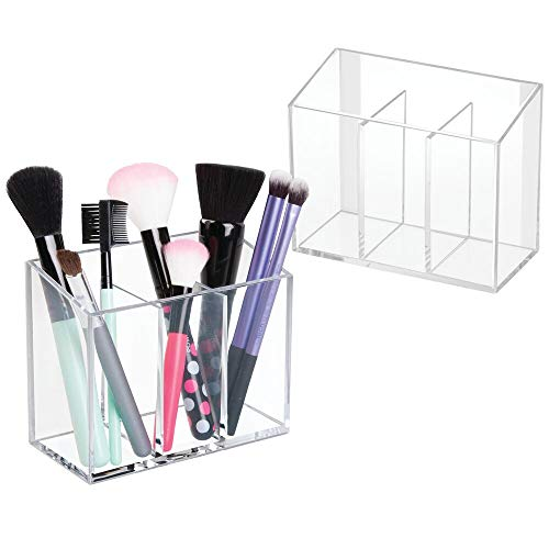 mDesign Small Plastic Self Adhesive Bathroom Vanity Cosmetic Organizer - Wall Mount Holder for Hair Care, Jewelry, Cotton Swabs, Makeup Brushes, Mascara, Lip Gloss - 3 Compartments - 2 Pack - Clear