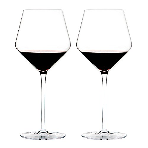 Triangle 23oz, Hand Blown Lead-free Crystal Glass Burgundy/Pinot Noir Red Wine Glasses, Set of 2, Large Bowl and Long Stem, Wedding Gift Set -