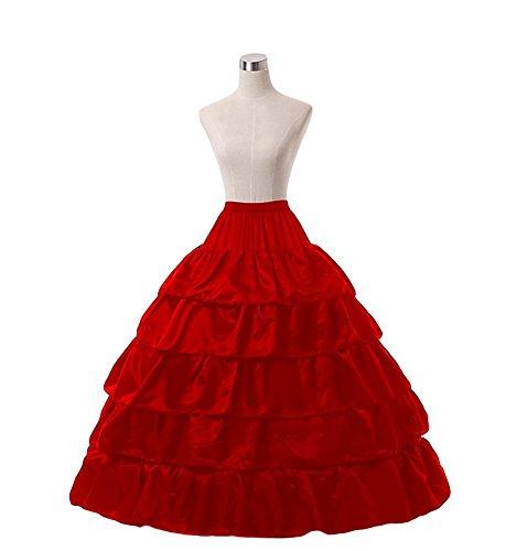 FTSOP Women's Petticoats 6-Hoop Wedding Petticoats Mermaid Underskirts Quinceanera Gown Red B