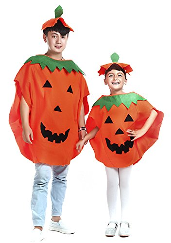 Halloween Costumes Set Props Kids Adults Orange Pumpkin Cosplay Costume Fancy Dress Hat Suit Party Outfit