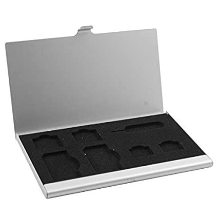 DealMux liga de alumínio 7 Slots SIM Box cartão de armazenamento caso titular tom de prata