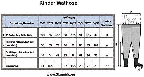 20-35 EU 3Kamido/® NI/ÑOS vadeadores de Pesca Infantiles para j/óvenes Hebilla FixLock Nexus Cintura Ajustable Tirantes duraderos 10 Modelos Botas de Pesca