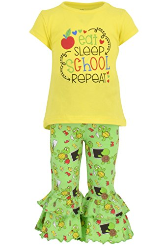 Unique Baby Girls Eat Sleep School Repeat Back to School Pants Set (7) Yellow]()