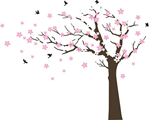 Large Cherry Blossom Tree Blowing in The Wind Tree Wall Decals Wall Sticker Vinyl Wall Art Kids Rooms Teen Girls Boys Wallpaper Wall Stickers Room Decor (Dark brown tree, white and pink flower,Left) ()