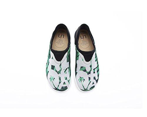 Uin Womens Green Palm Moda Cool Mesh Panno Scarpe Da Viaggio Verde