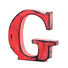Letter-O-Holic Shabby Chic Vintage Large 11 cm Wooden Letters Hand Finished Alphabets Free-Standing Or Wall Mounted Décor for Weddings Baby Names Signs Unique Personalised Gift. (Red Letter G)