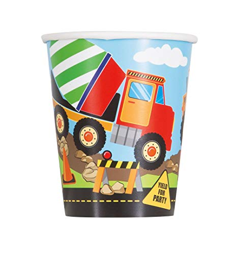 9oz Construction Truck Birthday Party Cups, 8ct