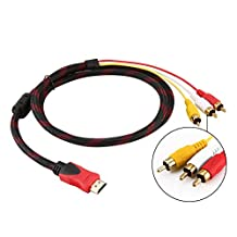Florencinid HDMI to RCA Cable,HDMI Male to 3RCA AV Composite Male M/M Connector Adapter Cable Cord Transmitter, Used for signal transmission between HDMI and HDTV,One-way Transmission from HDMI to RCA-5ft/1.5m Red