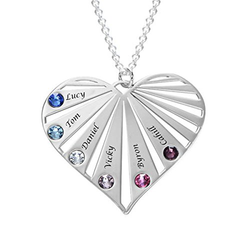 - Friendship Custom Engraving Name Family Heart Pendant Necklace ,Personalized Engraved 8 Names with Swarovski Elemental Crystal Birthstone Jewelry in 18K White Gold Plating Sterling Sliver, Rolo Chain