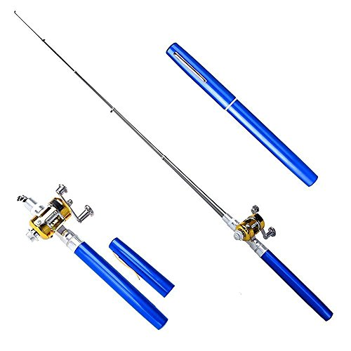 SUPOW 39'' Telescopic Saltwater Fishing Rod - Ice Fishing Foldable Pole Mini Portable Travel Pocket Size Drum Wheel Rod Aluminum Alloy Pen Shaped Pole Ideal Fishing Rod & Reel Combo (Blue.) (And Reel Rod Telescoping)