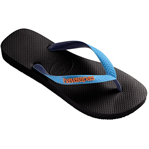 Mens Havianas Top Mix Beach Open Toe Casual Rubber Thongs Flip Flops - Black/Capri - 9