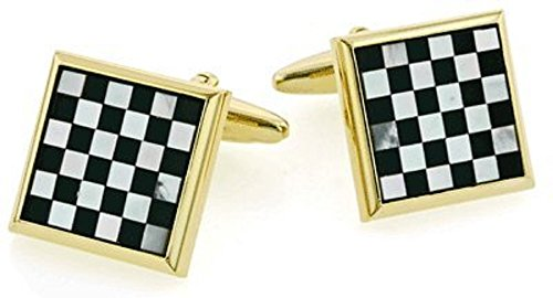 Mother of Pearl and Onyx Checkerboard Cufflinks