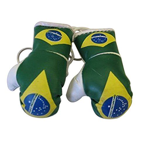 Flag Mini Small Boxing Gloves to Hang Over Car Automobile Mirror - Americas (Country: Brasil / Brazil)