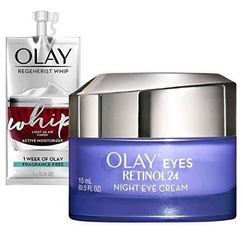 Olay Regenerist Retinol Eye Cream, Retinol 24 Night Eye Cream, 0.5oz + Whip Face Moisturizer Travel/Trial Size Gift Set