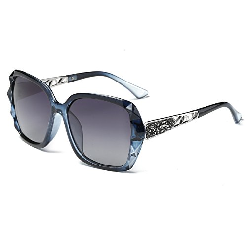 Amomoma Classic Women Polarized Sunglasses Oversized Mirrored UV400 Lens AM2008 Crystal Blue/Gradient Grey - Selection Sunglasses Best