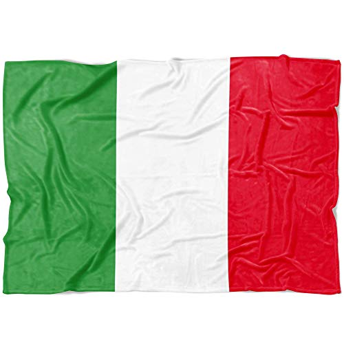 P.S. I Love Italy Italian Flag Blanket - Luxury Super Soft Plush Fleece Throw - Cozy and Fuzzy Fabric for Bed Couch Sofa - Great Gift for Women, Men, Mom, and Grandma