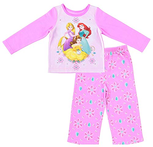 (Disney Junior Girls Princess Pajamas - 2-Piece Long Sleeve Pajama Set (Pink,)