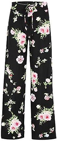 Women's Comfy Stretchy Pajama Pants Wide Leg Print Palazzo Lounge Pants Drawst