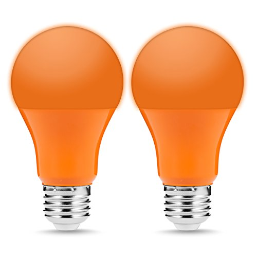 JandCase Orange Light Bulbs, Holiday Decorations LED Lights, 5W(40W Incandescent Equivalent), A19 Color Outdoor Bulb with E26 Medium Base, Porch, Home Lighting, 2 Pack -