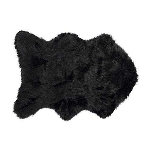 (2 ft x 3 ft) Luxe Faux Fur Luxury Soft Premium Quality Thick & Lush Fade Resistant Shed Free 100% Animal-Free Gordon Faux Sheepskin Area Rug, Black
