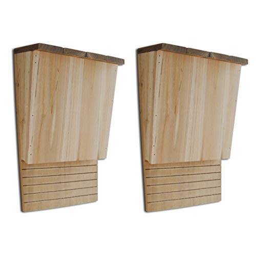 Festnight Set of 2 Bat House Shelter Dual Solid Wood Bat Boxes Outdoor Mounting Natural Eco-Friendly Solution to Backyard 8.7