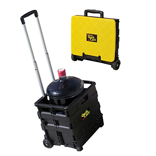 Quik Cart Two-Wheeled Collapsible Handcart with Yellow Lid Rolling Utility Cart with seat heavy duty lightweight