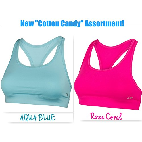 Super Premium Sports Bra - Assorted Colors and Styles (Large- 2 Pack, SPB13-2 Pack)
