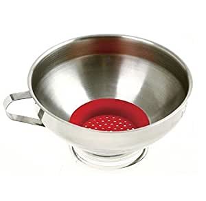 """Norpro Stainless Steel Wide Mouth 6"""" Funnel with Silicone Strainer NEW SEALED"""