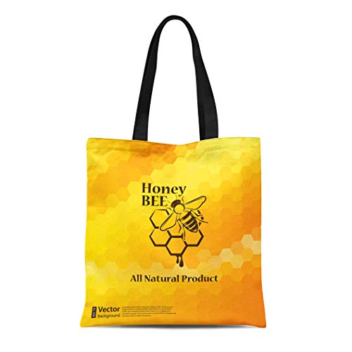 Semtomn Canvas Tote Bag Shoulder Bags Yellow Beehive Honey and Bee on Honeycomb Label White Women's Handle Shoulder Tote Shopper Handbag ()