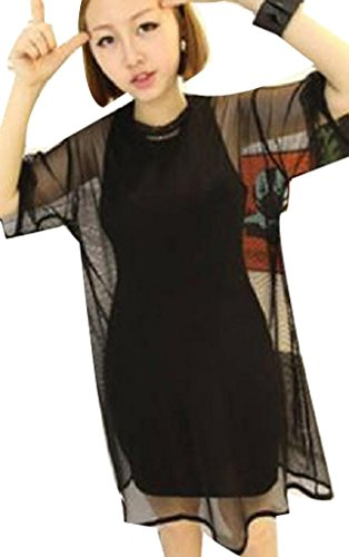 Black See Through Mesh Short Sleeve Oversize Shirt Cover Tops Blouse