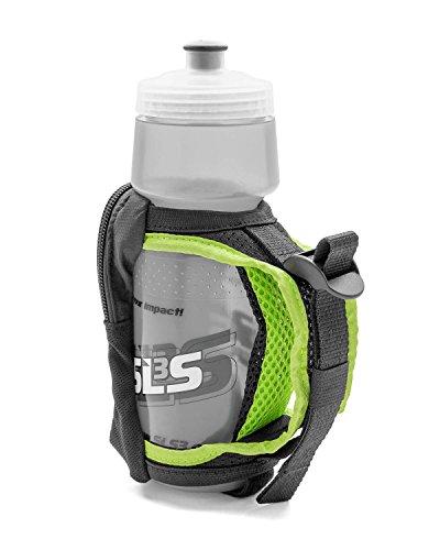 SLS3 Water Bottle for Running Hand Held | Zippered Pocket | 24oz Hydroquick Running Water Bottle | Handheld Water Bottles for Runners | German Designed (Black 24oz)