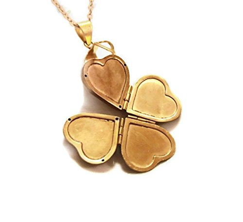 Folding Heart Locket..that Opens Into a Clover, Can Hold 4 Photos or Get It Custom Engraved for Free