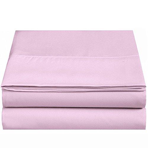 4U LIFE Flat Sheet-Ultra Soft & Confortable Microfiber-Pink,Queen