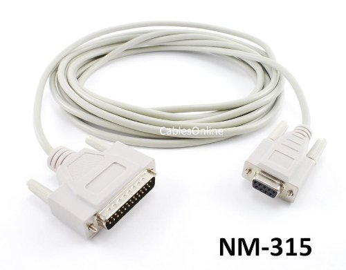 (CablesOnline 15ft Null Modem DB9 Female to DB25 Male Serial Data Transfer Cable (NM-315))