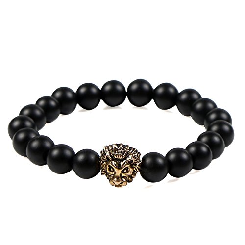 [Colrov Bead Bracelet For Men Women,Lava Rock Agate Bangle Bracelets With Gold Plated Lion Head Style Mattle] (But Mommy Costumes)