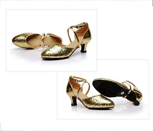 Meijili Women's Ankle Strap Buckle Sequins Tango Samba Salsa Ballroom Latin Dance Shoes High Heel Wedding Evening shoes Gold DE4Rkf