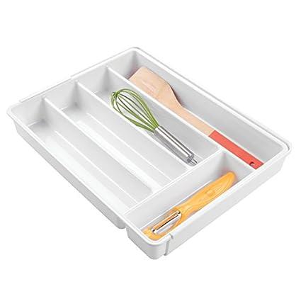 mDesign Cubertero antideslizante expandible con 6 divisiones – Organizador de cubiertos extensible para ordenar utensilios –