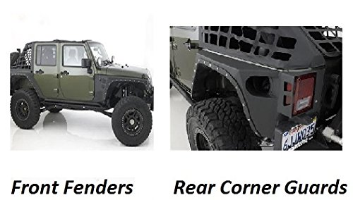 (Smittybilt 2007-2015 Jeep JK Wrangler 4 Door XRC Rear Corner Guards and Front Fender Flares Black Textured 4pcs set)
