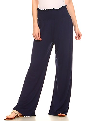Stretch Knit Wide Leg Pants (Amie Finery Flowy Palazzo Pants For Women Smocked High Waist Lounge Jersey Knit Pants Large Estate Navy Blue)