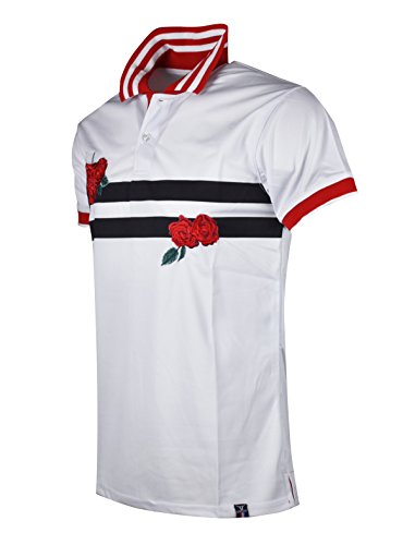 - SCREENSHOTBRAND-S11833 Mens Hipster Hip-Hop Premium Tees - Stylish Fashion Rose Flower Embroidery Striped Polo T-Shirt - White-XLarge