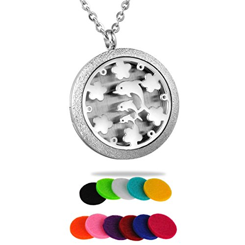 HooAMI Aromatherapy Essential Oil Diffuser Necklace - Happy Play Dolphin Locket Pendant