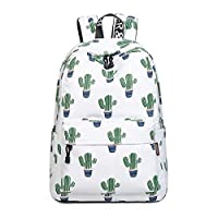 "Acmebon Girls Fashion Printed Pattern Backpack Casual Student Backpack Fit 15.6"" Laptop Cactus"