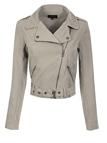 (Design by Olivia Women's Lightweight Faux Suede Zip Up Short Moto Biker Jacket Earth Grey M)